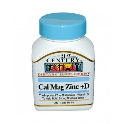 Калций Магнезий Цинк + Витамин D | 90 таблетки | 21st Century